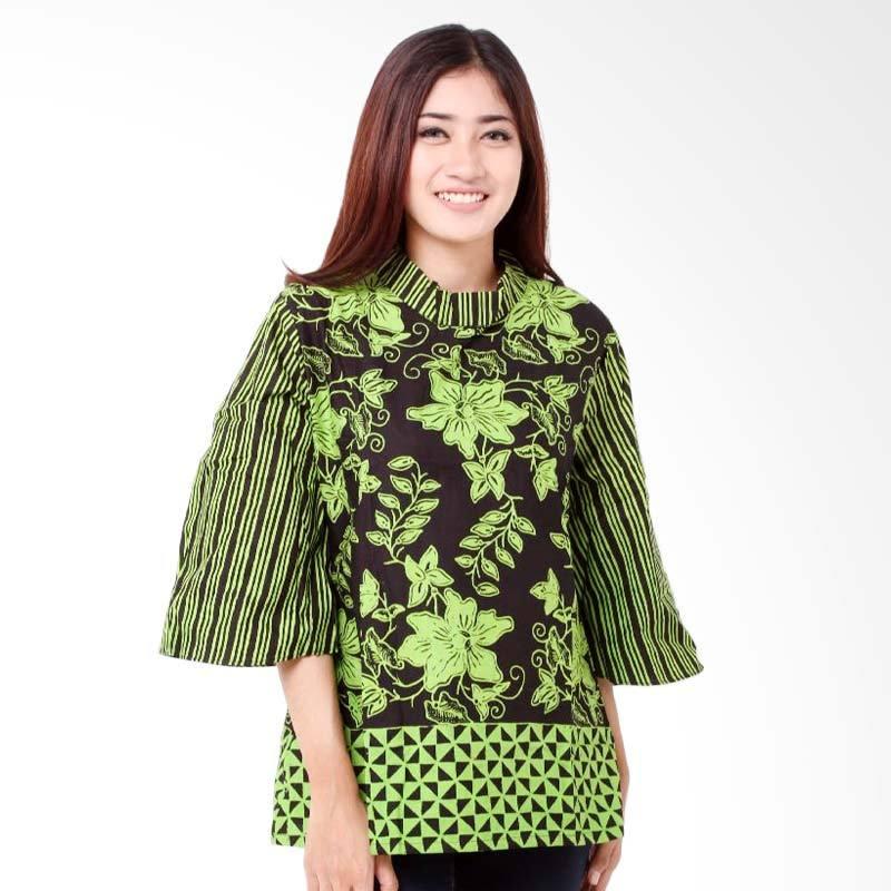 harga Batik Distro BA7788 Kerah Lipat Resleting Blus Wanita - Hijau Blibli.com