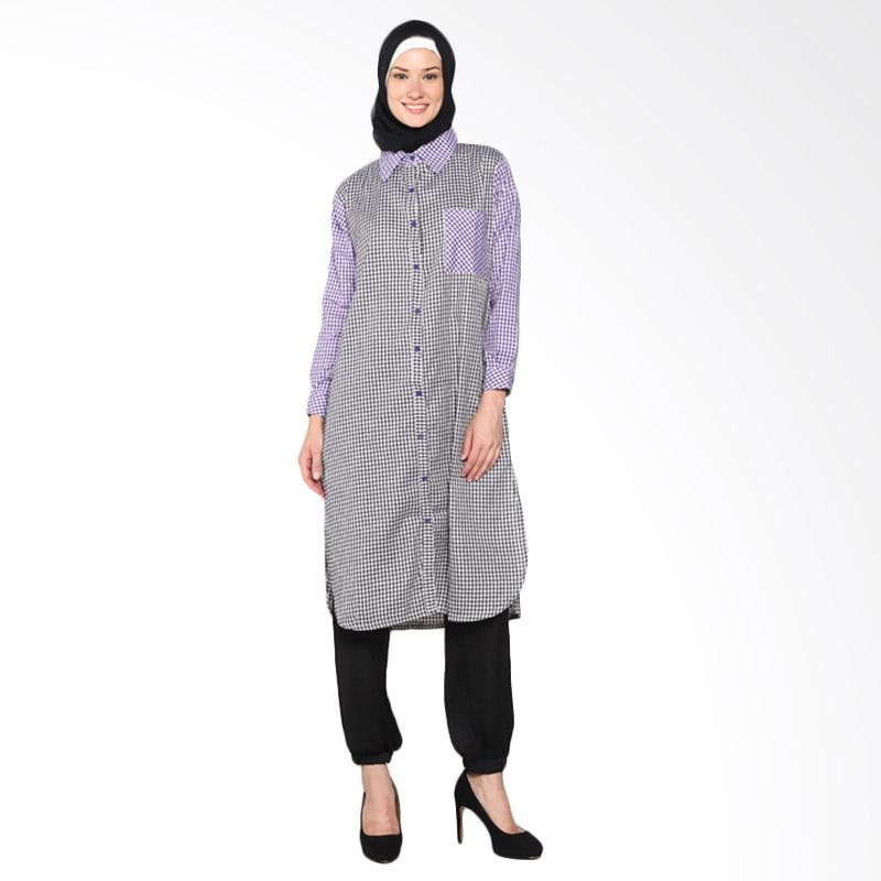 Chick Shop Simple Long Shirt CO-59-02-HU Baju Moslem - Black Purple