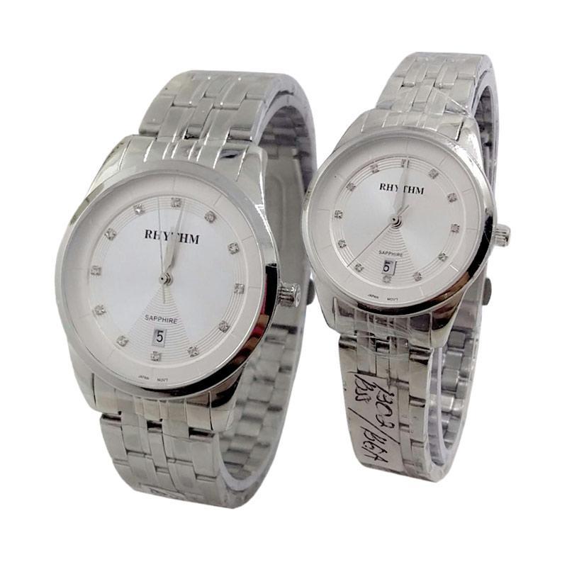 Rhythm Sapphire D45H405RH1301MSLVPP Date Jam Tangan Couple - Silver