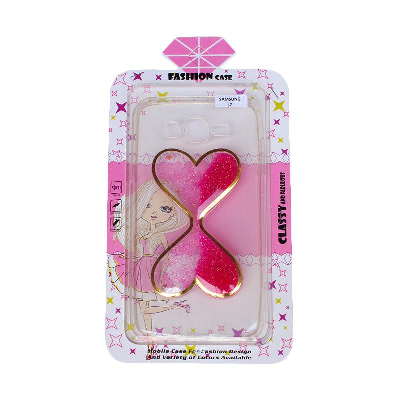 Fashion Case Water Glitter 2 Love Casing for Samsung J7 - Pink