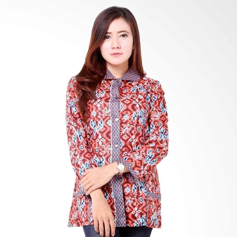 harga Batik Distro BA7866 Blus Kantor Panjang Atasan Wanita - Coklat Blibli.com