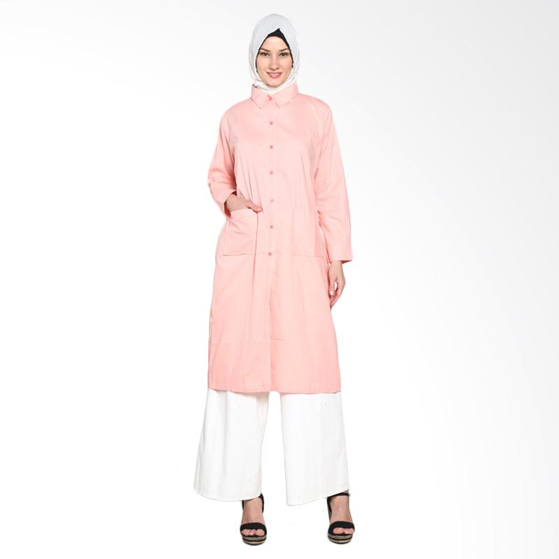 Chick Shop Simple Plain Long Shirt CO-52-04-Pe Tunik Muslim - Peach