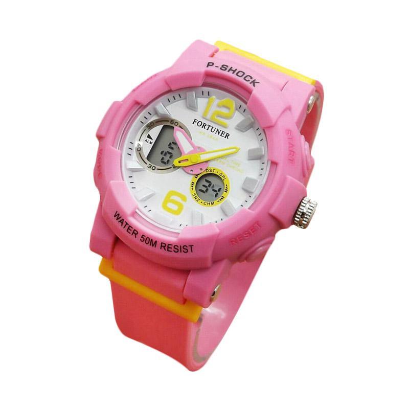 Fortuner Dualtime J908AD  Rubber Strap Jam Tangan Wanita - Pink