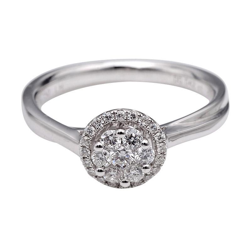Tiaria DJXJZ042 Perhiasan Cincin Emas Putih Berlian White Gold [18K]