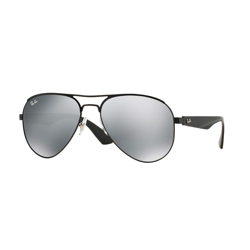 Ray-Ban RB3523 006-6G Gray Silver Mirror Sunglasses - Matte Black [Size 59]