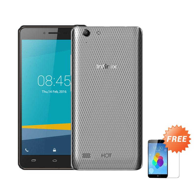 Ultrathin Casing for Infinix Hot 3 - Grey Clear + Free Tempered Glass