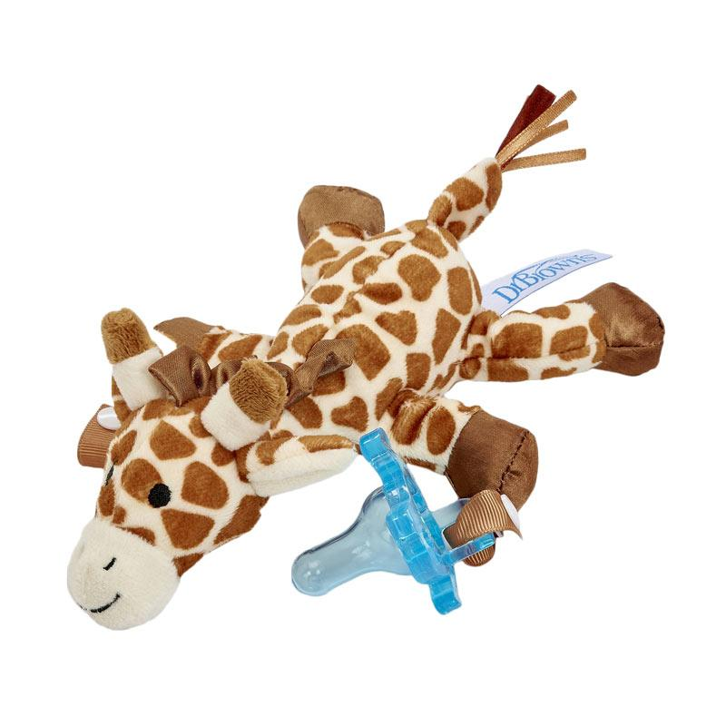Dr. Brown's Giraffe Lovey with Blue One Piece Pacifier Dot Bayi