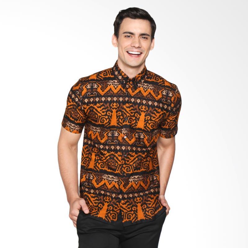 harga Madrim Indonesia Batik Etnik Kemeja Pria MI2017026 - Hitam Orange Blibli.com