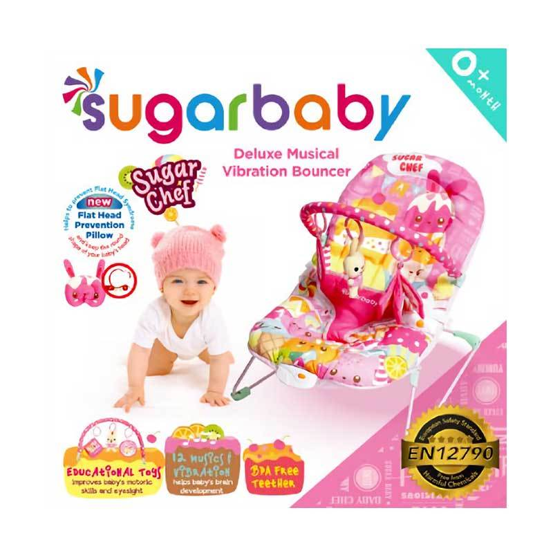 Sugar Baby Sugar Chef Deluxe Musical Vibration Bouncer - Pink