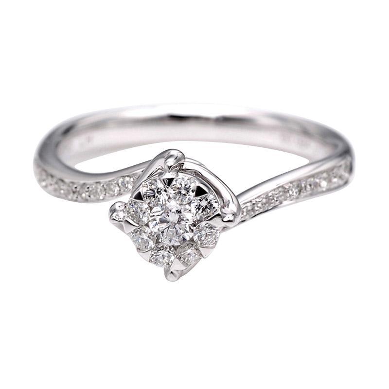 Tiaria DJXJZ043 Perhiasan Cincin Emas Putih Berlian White Gold [18K]
