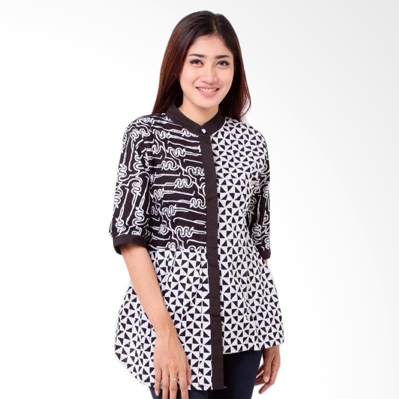 Batik Distro BA7786 Shanghai Kombinasi Pola Blus Wanita - Hitam