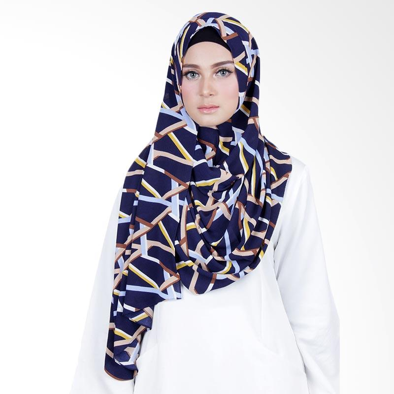 Cantik Kerudung Sheefa Long Nadine Print No.9 Hijab - Navy