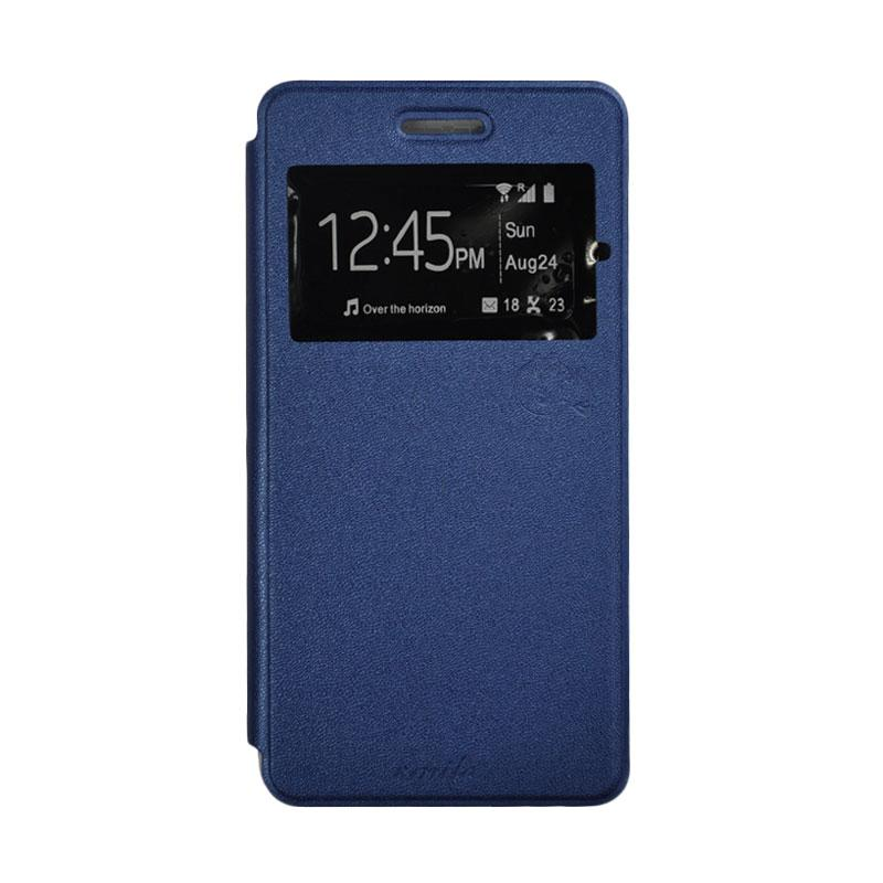 SMILE Standing Flip Cover Casing for Sony Xperia M4 Aqua - Deep Blue