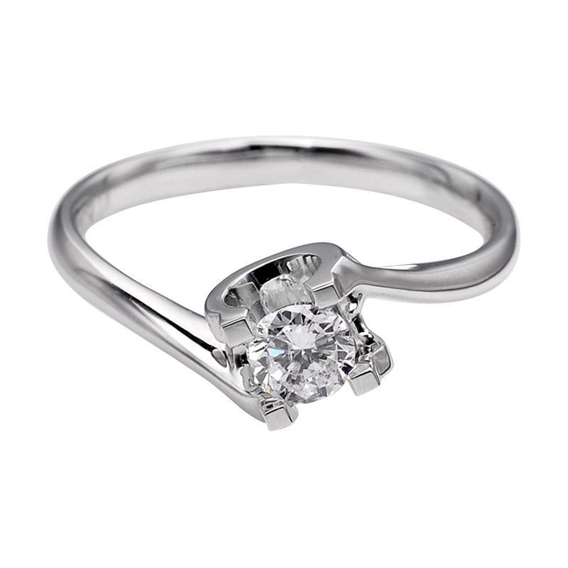 Tiaria DJXJZ054 Perhiasan Cincin Emas Putih Berlian White Gold [18K]