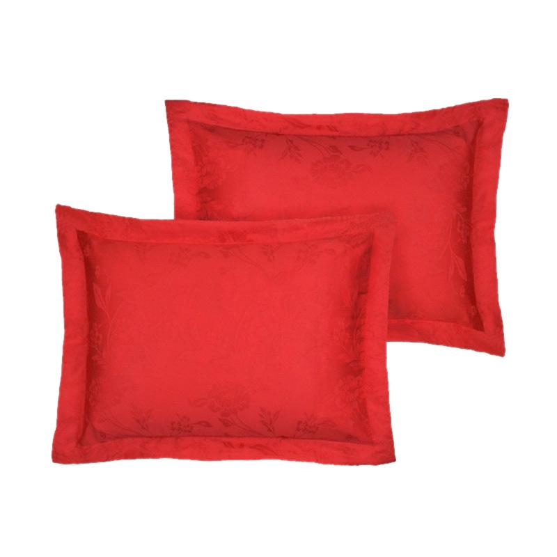 Tren-D-home Sarung Bantal Jacquard - Merah 50 cm x 70 cm  [60 x 80 cm]