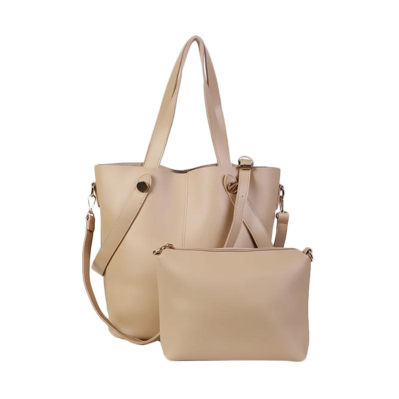 Chloebaby Shop Fashion Big Pouch With Sling Tote Bag - Cream