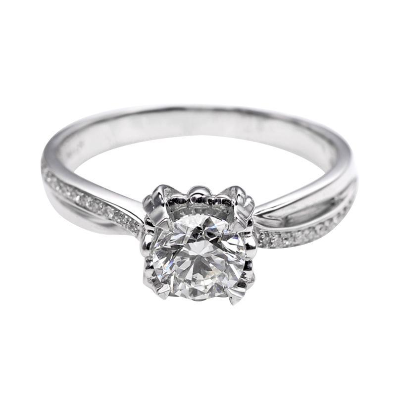 Tiaria DJXJZ055 Perhiasan Cincin Emas Putih Berlian White Gold [18K]