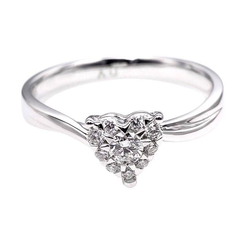 Tiaria DJXJZ056 Perhiasan Cincin Emas Putih Berlian White Gold [18K]