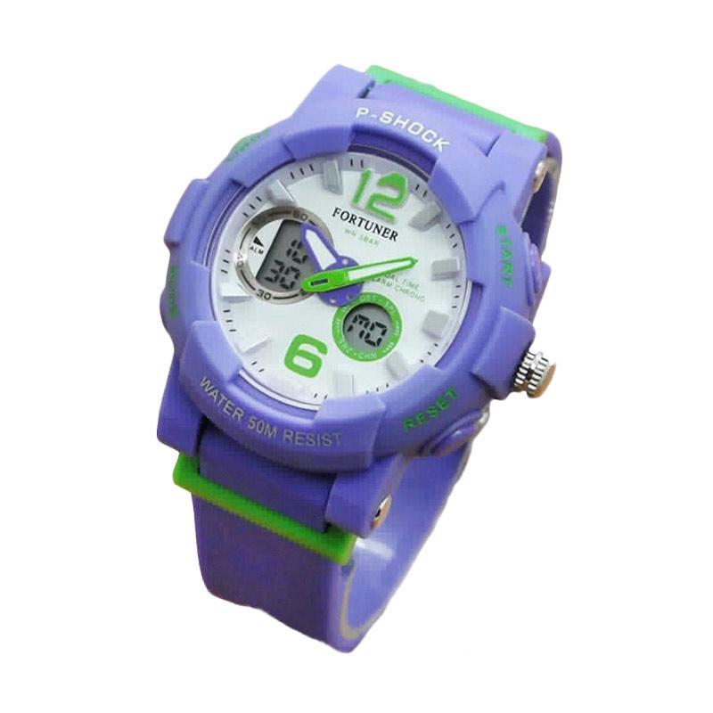 Fortuner J908AD Dualtime Rubber Strap Jam Tangan Wanita - Green