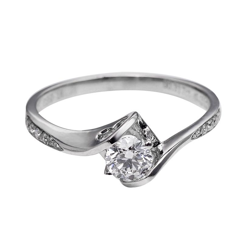Tiaria DJXJZ066 Perhiasan Cincin Emas Putih Berlian White Gold [18K]
