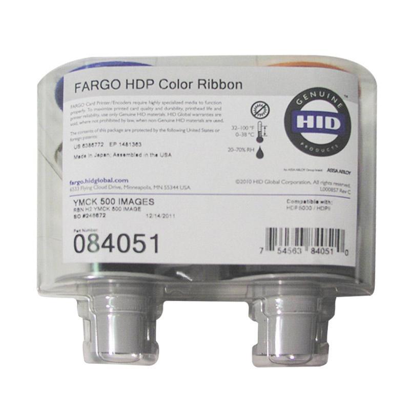 Fargo FAR-84051 Ribbon YMCK W/Cleaning Roller for Printer HDP5000 [500 Prints]