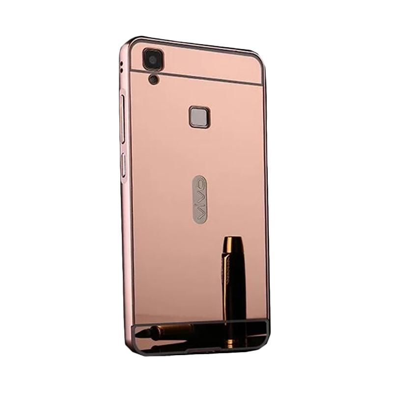 Bumper Case Mirror Sliding Casing for Vivo V3 Max - Rose Gold
