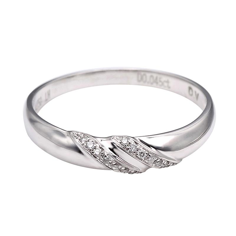 Tiaria DJXJZ058 Perhiasan Cincin Emas Putih Berlian White Gold [18K]