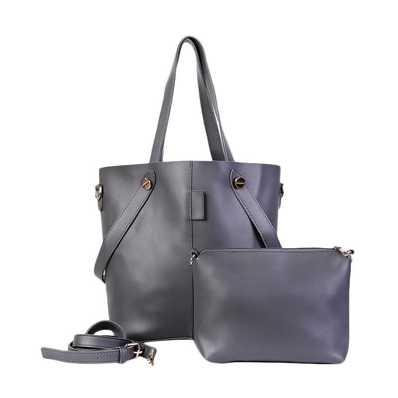 Chloebaby Shop Fashion Big Pouch With Sling Tote Bag - Grey