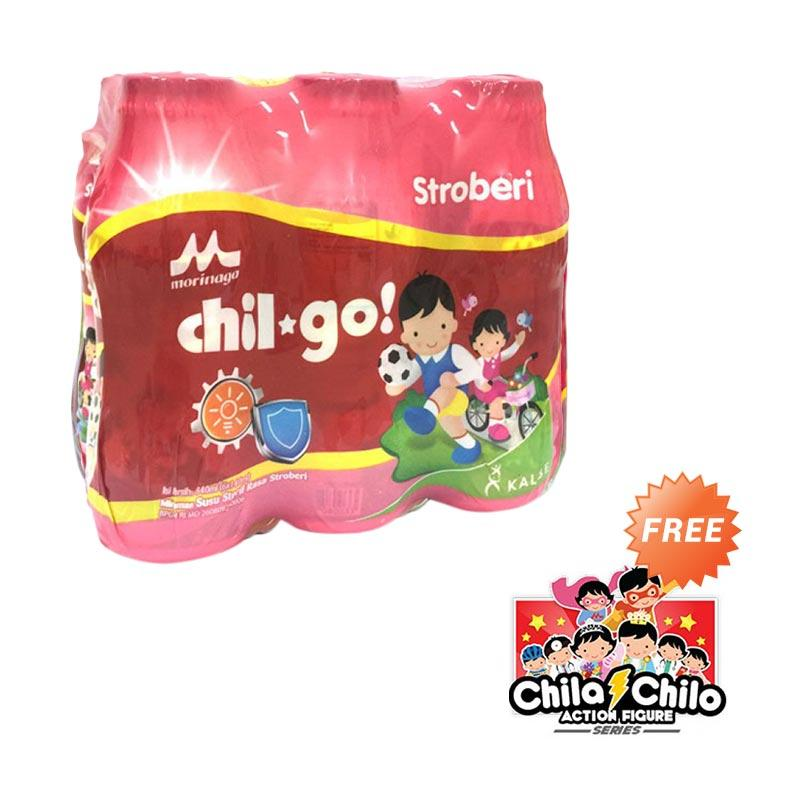Morinaga Chil Go Strawberry [140 mL/6 Pcs/FREE 1 Action Figure Chila Chilo]