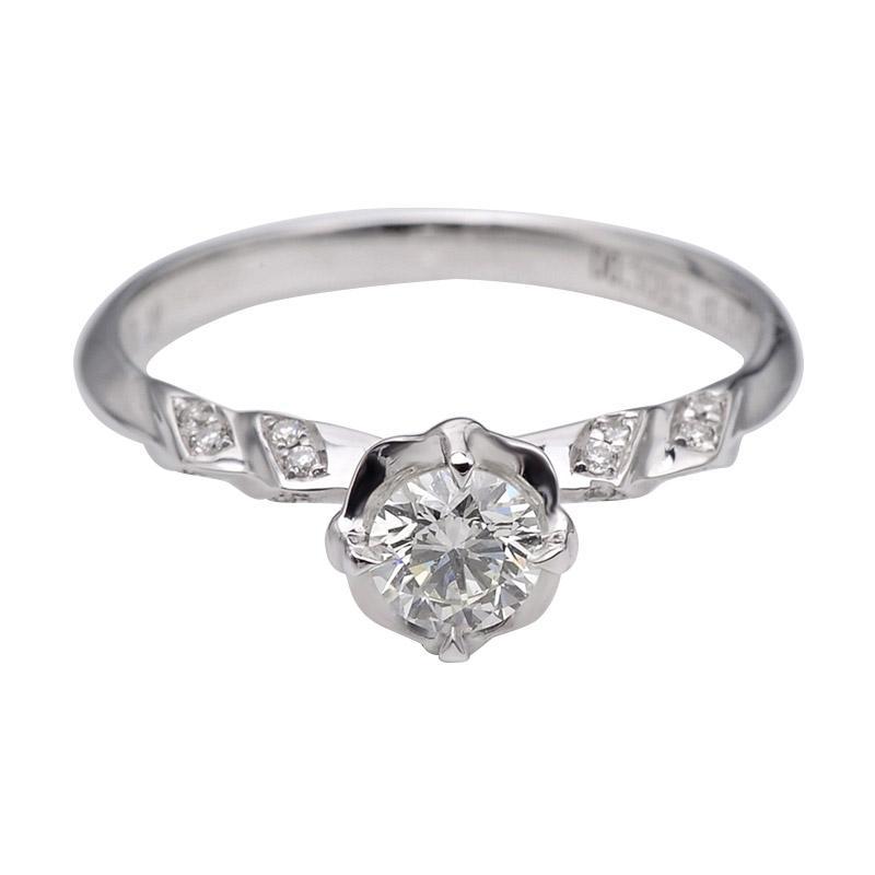 Tiaria DJXJZ059 Perhiasan Cincin Emas Putih Berlian White Gold [18K]