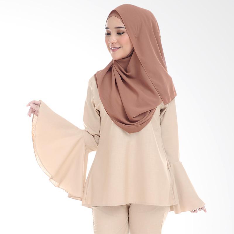 Cotton Bee Qaaida Bell Sleeves Blouse Atasan Wanita - Malted Milk