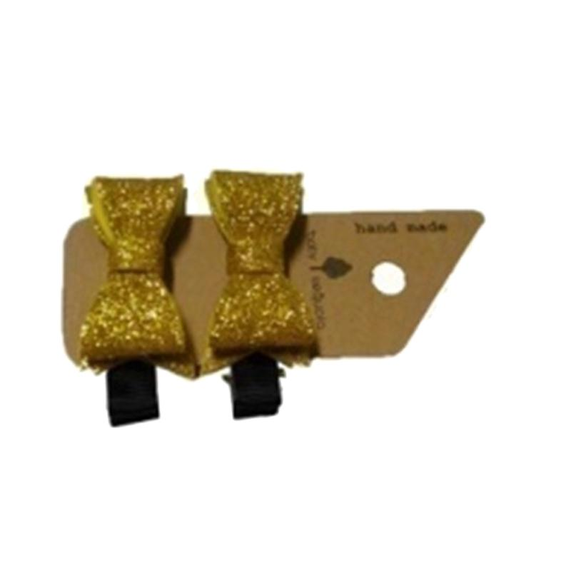 Baby Sequoia Glitter Felt Bow Clips Jepit Rambut - Yellow