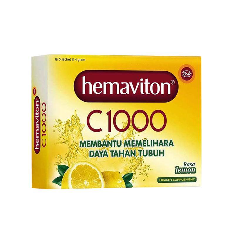 Hemaviton C1000 Rasa Lemon Sachet Minuman Kesehatan [4 g/2 folding box] Free Pouch