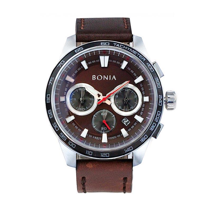 Bonia BN10203-1342C Stainless Steel Case & Brown Leather Strap Jam Tangan Pria
