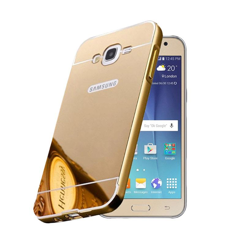 Bumper Case Mirror Sliding Casing for Samsung Galaxy E7 - Gold