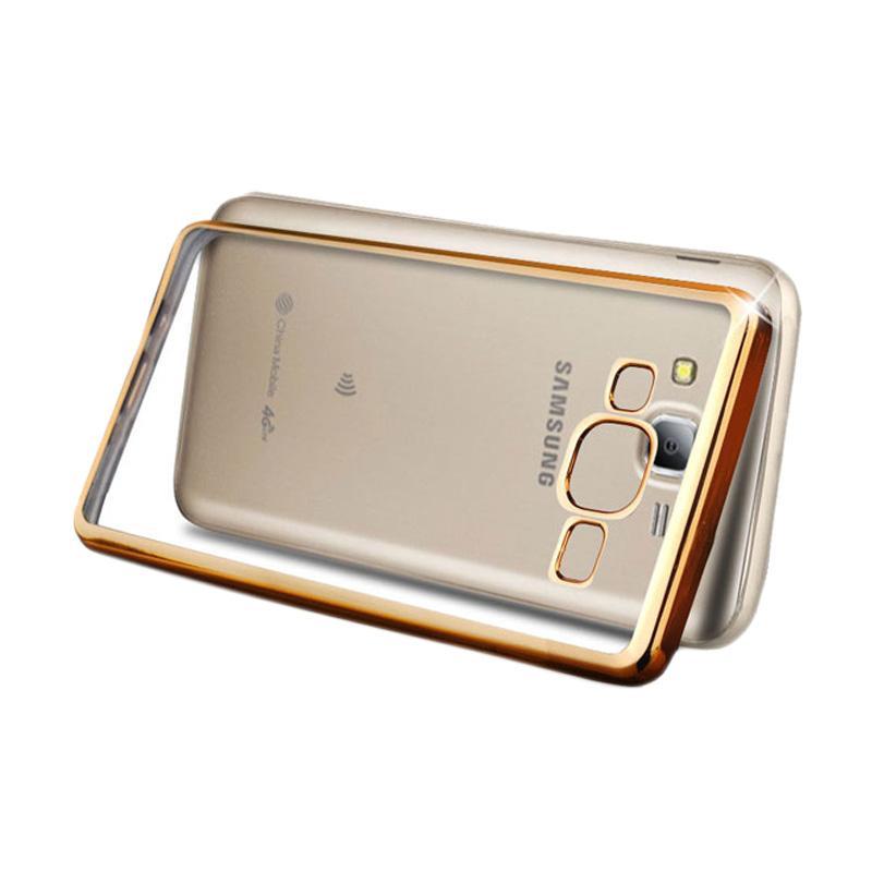 OEM Ultrathin TPU Shining Chrome Casing for Samsung Galaxy J3 - Gold
