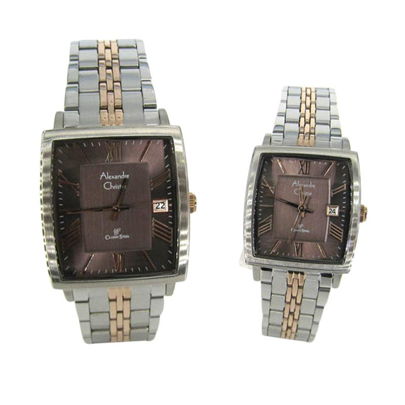 Alexandre Christie 8512 Couple - Silver Rosegold Brown