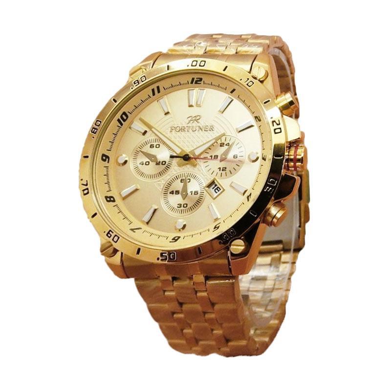 Fortuner Jam Tangan Unisex Stainleestell Strap FR3070G Jam Tangan Pria Lux - Gold