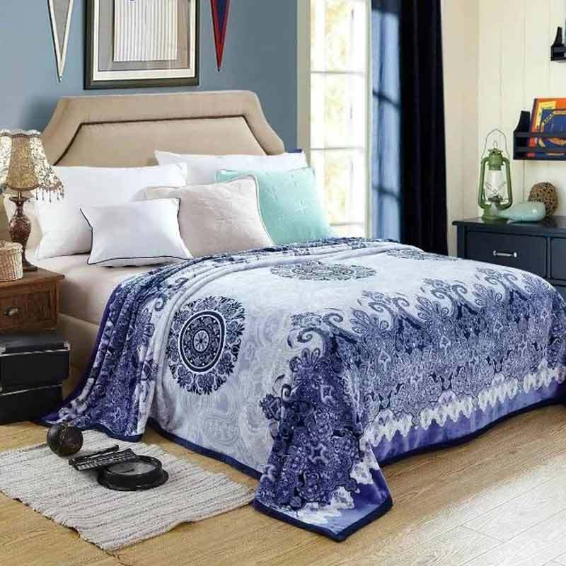 Lucky Blanket Motif Batik Selimut Bulu Dewasa - Biru [180 x 200 cm]