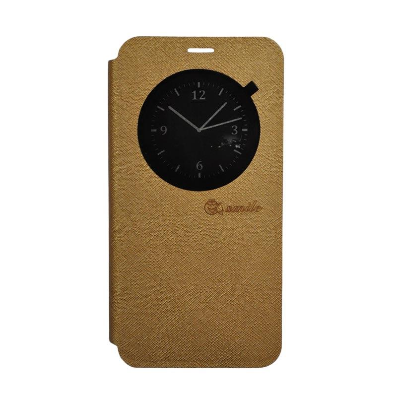 SMILE Standing Flip Cover Casing for Asus Zenfone 3 Max ZC520TL - Gold