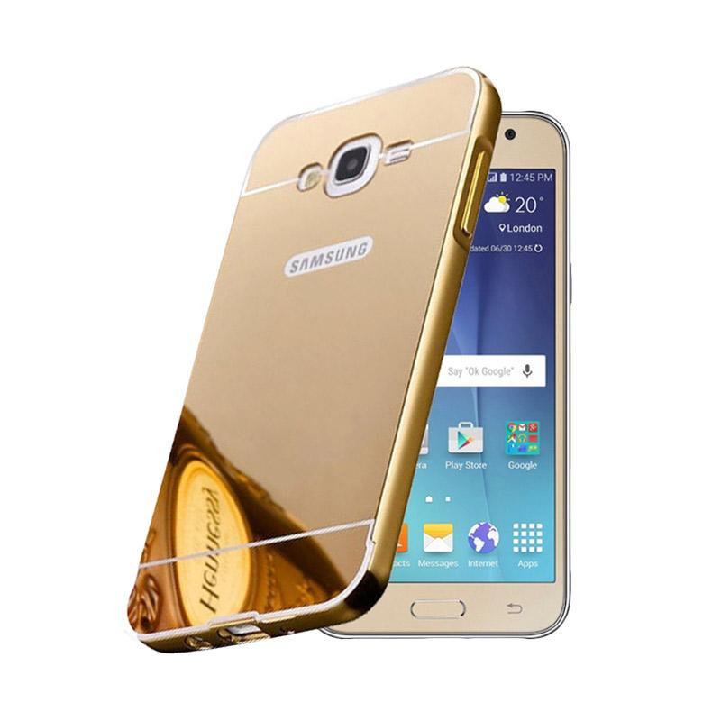 Bumper Case Mirror Sliding Casing for Samsung Galaxy J5 - Gold