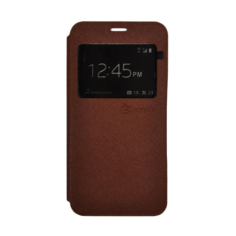 Smile Leather Standing Flip Cover Casing for Vivo V5 Plus - Brown