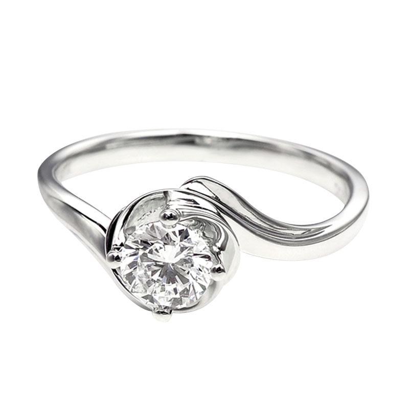Tiaria DHTXDFJ001 Cincin Berlian emas putih [18K]