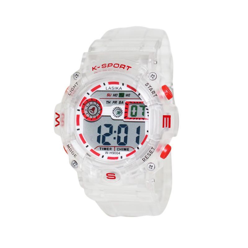 Lasika Hatline L9442E Water Resistant Jam Tangan Sporty - Transparan Merah - Bonus Baterai