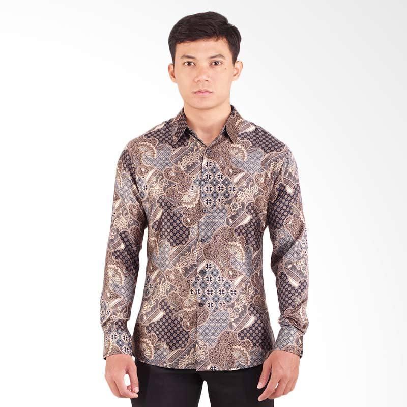 Harga Parama Batik Grey Slim Fit Batik Kemeja Lengan Panjang Pria ... 028410eaf4