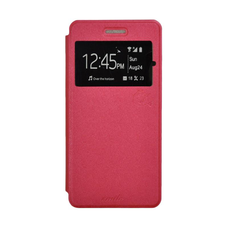 SMILE Standing Flip Cover Casing for Sony Xperia M4 Aqua - Hot Pink