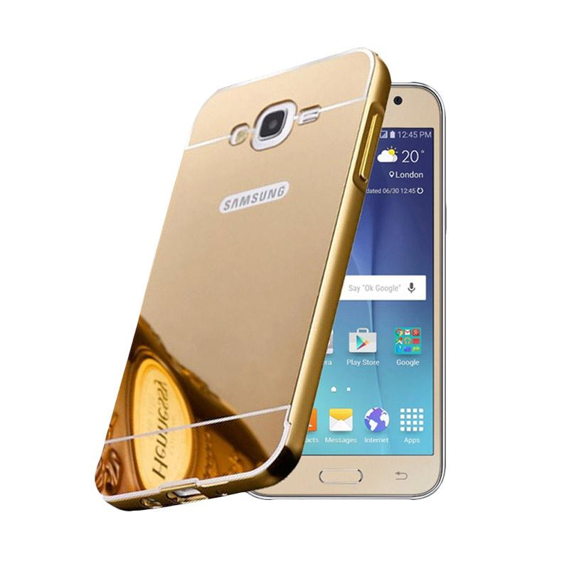 Bumper Mirror Sliding Casing for Samsung Galaxy Grand 1 - Gold
