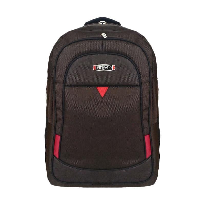 Polo Club Triangle Segitiga Laptop Backpack with Raincover - Coklat