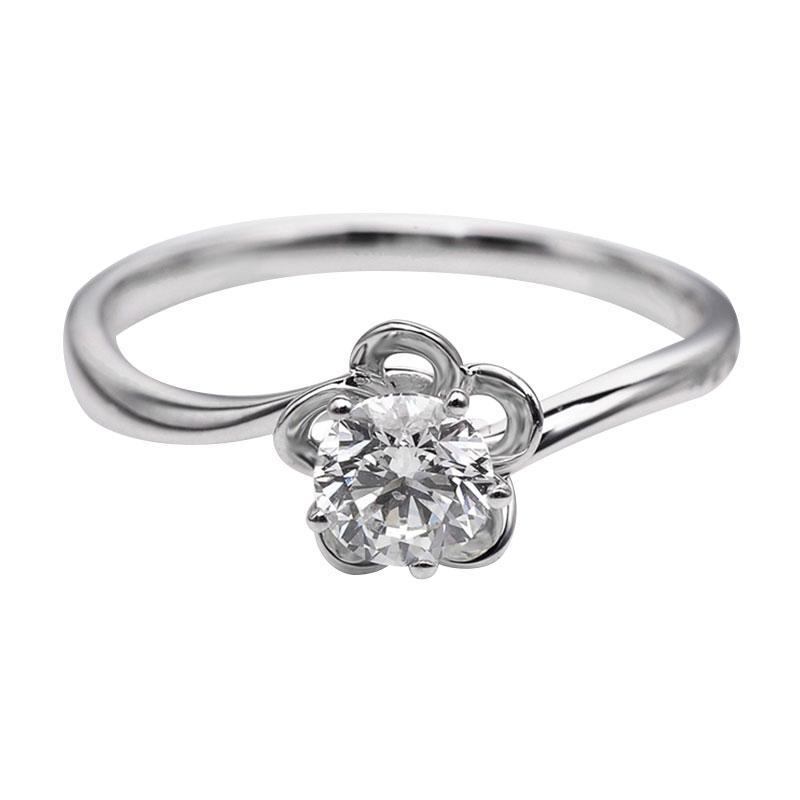 Tiaria DHTXDFJ013 Cincin Berlian emas putih [18K]