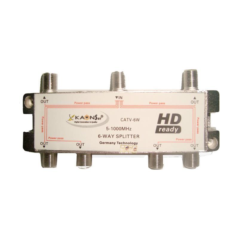 Kaonsat CATV-6W Splitter 6 Way untuk TV Kabel [Frekuensi 5-1000 MHZ]